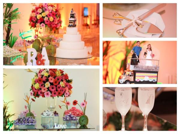 casamento axe - montagem detalhes mesa do bolo