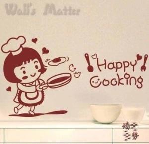 adesivo cozinha - happy cooking